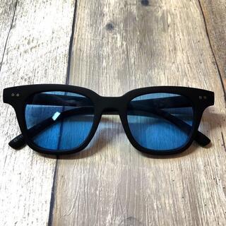 マットブラック/ライトブルー ウェリントン サングラス ボストン 眼鏡