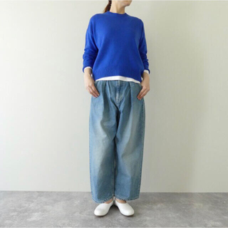 45R - 【美品】LAITERIE(レイトリー) セルヴィッジデニムワイドタックパンツ
