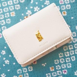 がま口【三つ折りミニ財布】レディース コインケース ベージュ 猫 花柄 新品