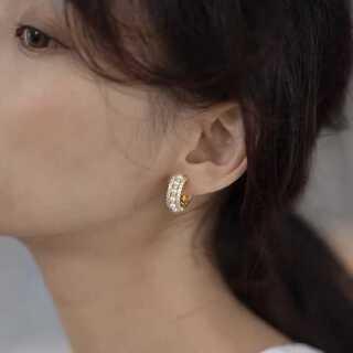 dholic - #949 import pierce : bijou C pearl gold