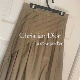 クリスチャンディオール(Christian Dior)のChristian Dior ディオール  スカート カーキ   ハイブランド(ひざ丈スカート)