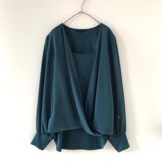 ANAYI - アナイ カシュクールカットソー とろみ 異素材組み合わせ トップス 長袖 青緑