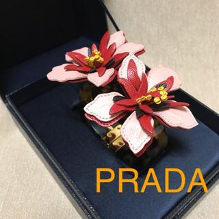 プラダ(PRADA)のレア☆PRADA プラダ バングル ピンク レッド 花 フラワー ブレスレット(ブレスレット/バングル)