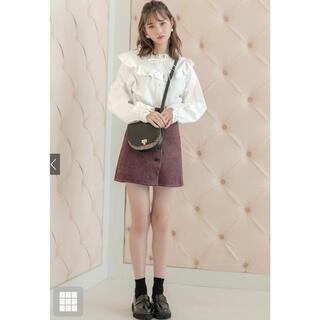 グレイル(GRL)のGRL フロントボタンコーデュロイミニスカート オフホワイト(ミニスカート)