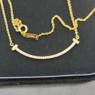 Tiffany & Co. - TIFFANY&CO.T スマイル ペンダント YG ダイヤ ネックレス Tif