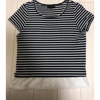 アンタイトル(UNTITLED)のボーダーTシャツ  半袖ブラウス  UNTITLED 夏服 アンタイトル 3L(シャツ/ブラウス(半袖/袖なし))
