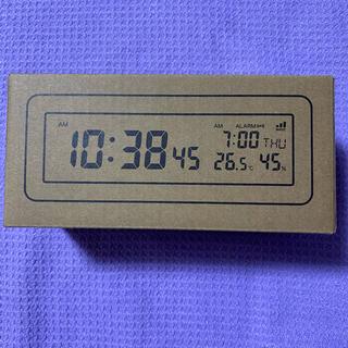 ムジルシリョウヒン(MUJI (無印良品))の*保証書付き*無印良品 デジタル電波時計 (大音量アラーム機能付) ブラック(置時計)
