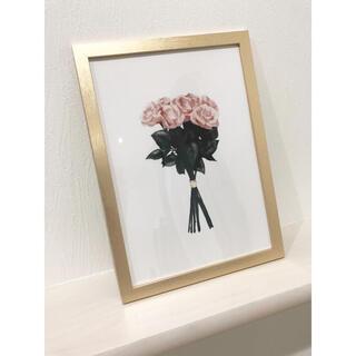 A4サイズ【ゴールドフレーム】インテリアポスター Flower(ウェルカムボード)