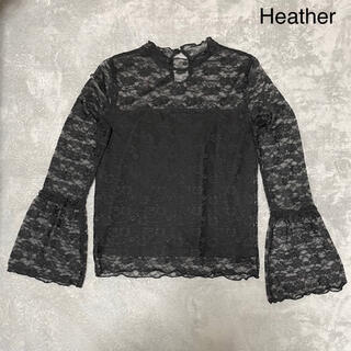 ヘザー(heather)のHeather レースブラウス ブラック(シャツ/ブラウス(長袖/七分))