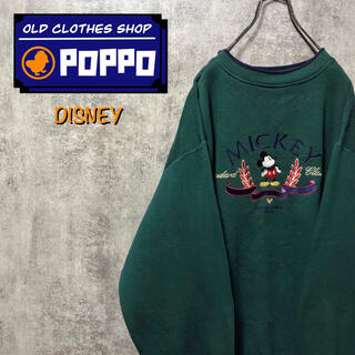 Disney - ディズニー☆ミッキークラシックキャラ刺繍ロゴラインリブスウェット 90s