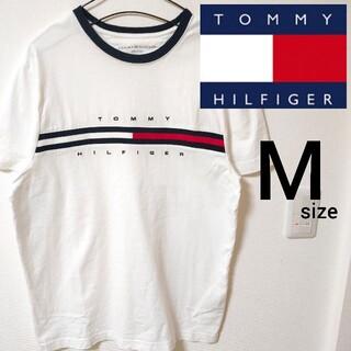 TOMMY HILFIGER - トミーヒルフィガー ホワイト Mサイズ 半袖Tシャツ カットソー メンズ 刺繍