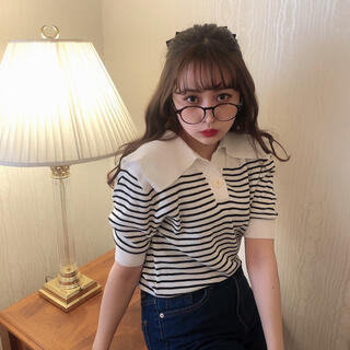 スナイデル(snidel)の《Desir同型》big collar border knit tops(Tシャツ(半袖/袖なし))
