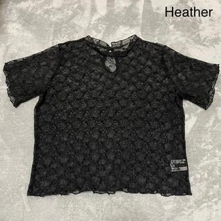 ヘザー(heather)のHeather レースブラウス ブラック(シャツ/ブラウス(半袖/袖なし))