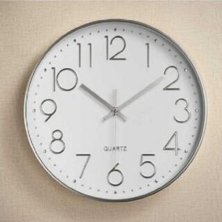 【掛時計】時計 壁掛け時計 クォーツ 銀白
