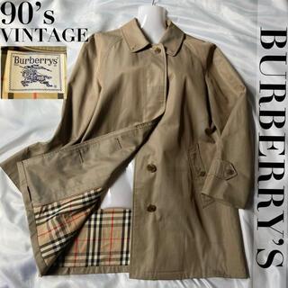 バーバリー(BURBERRY)の【定番】希少 90s バーバリーズ プローサム ステンカラー 玉虫 ノバチェック(トレンチコート)