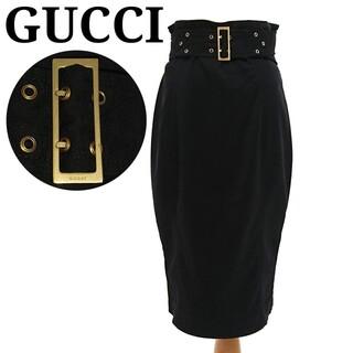 Gucci - 美品 GUCCI ひざ丈タイトスカート ベルト付き ロゴバックル ブラック 42