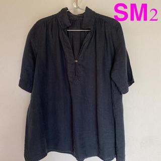 サマンサモスモス(SM2)のSM2❤️麻100%プルオーバーブラウス 黒墨色(シャツ/ブラウス(半袖/袖なし))