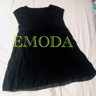 エモダ(EMODA)のEMODA エモダ ブラック ワンピース プリーツ シフォン(ミニワンピース)