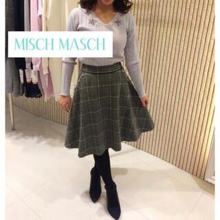 ミッシュマッシュ(MISCH MASCH)の定価10,584円♡ミッシュマッシュ♡装飾チェックフレアースカート 千鳥格子(ひざ丈スカート)