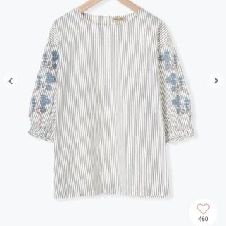 サマンサモスモス(SM2)のSM2  綿麻袖刺繍ボートネックブラウス(シャツ/ブラウス(半袖/袖なし))