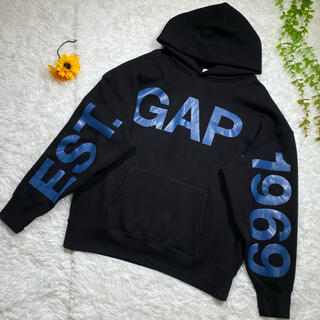 ギャップ(GAP)の美品 【GAP】 ギャップ パーカー プリント 袖ロゴ Lサイズ オーバーサイズ(パーカー)