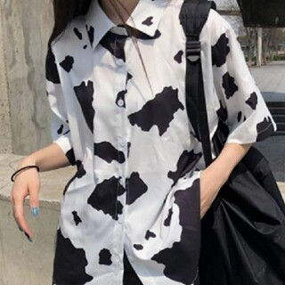 乳牛柄 Tシャツ プリント 半袖 乳牛柄 Tシャツ プリント 半袖 ビーチシ