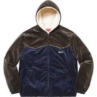 Supreme - L Navy Studded Velvet Hooded Work Jacket