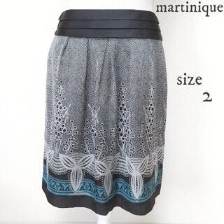 martinique Le Conte - 【martinique】レース柄プリント 台形 スカート 黒 サイズ2
