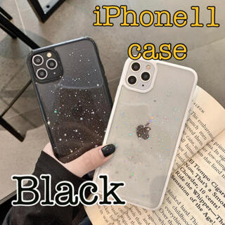 iPhone11 ケース クリア ラメ (Black)