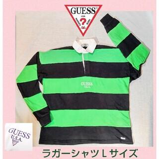 GUESS - GUESS★ゲス★ラガーシャツ★ブラック×グリーン★ボーダーシャツ★可愛い★秋物