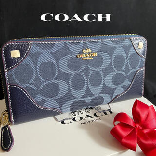 COACH - プレゼントにも❤️コーチ 人気のデニム ラウンドファスナー長財布