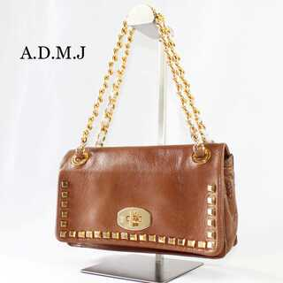 A.D.M.J. - ADMJ アクセソワ★チェーンショルダーバッグ スタッズ ゴールド金具 ブラウン