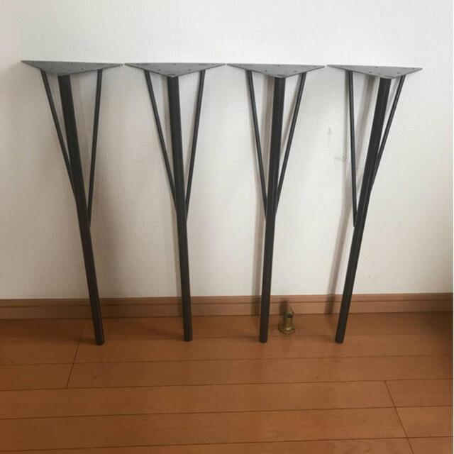 【新製品】テーブルのアイアン脚4本1組高さ約68センチ 机 直角 丸鋼支え棒φ9 インテリア/住まい/日用品の机/テーブル(ダイニングテーブル)の商品写真