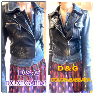 D&G - D&G DOLCE&GABBANAGジャン 革ジャン ストレッチ レア