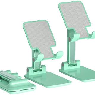 スマホスタンド 卓上 折り畳み式 タブレット(グリーン)(その他)