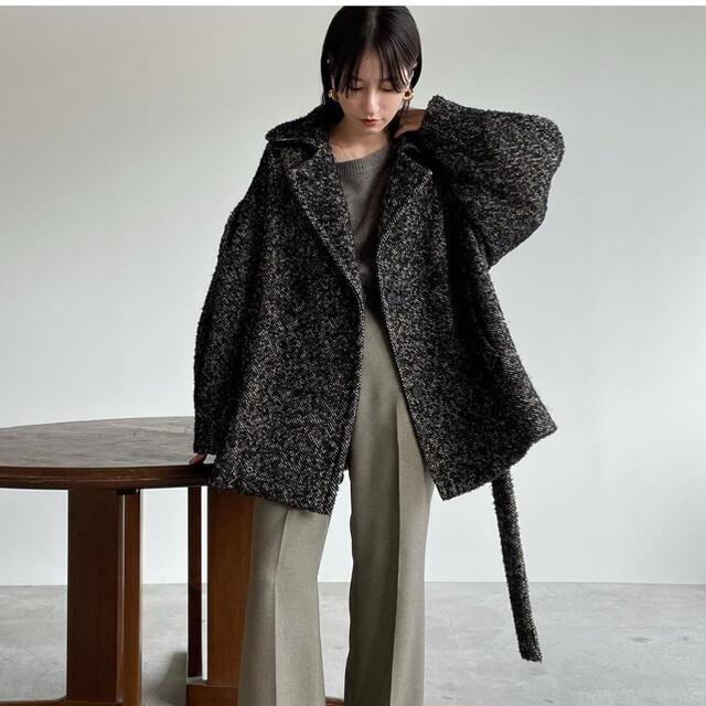 STUDIOUS(ステュディオス)の新品☆CLANE☆MIX LOOP TWEED BOX COATブラックサイズ1 レディースのジャケット/アウター(その他)の商品写真