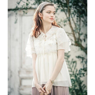 axes femme - アクシーズファム チュール 刺繍ロングシャツ