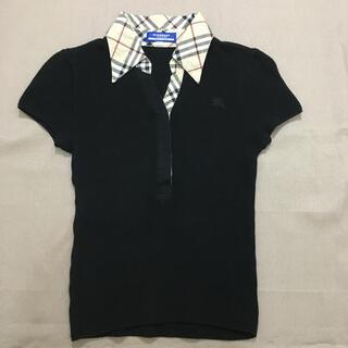 バーバリーブルーレーベル(BURBERRY BLUE LABEL)のバーバリーブルーレーベル ニット ポロシャツ ブラック×ノバチェック 38(ポロシャツ)
