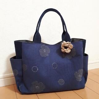 ★タカシ3078ハンドメイド★紺色花柄ししゅう サイドポケットトートバッグ