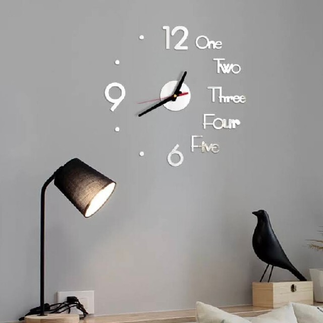 【SALE】3Dミラー ウォールクロック 掛け時計 シルバー ウォールステッカー インテリア/住まい/日用品のインテリア小物(掛時計/柱時計)の商品写真