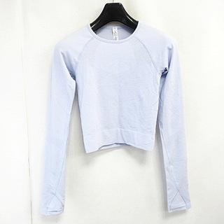 ルルレモン(lululemon)のルルレモン ストレッチ 長袖 Tシャツ トレーニングウェア ショート丈 薄紫 4(Tシャツ(長袖/七分))