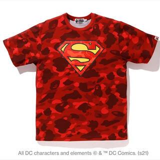 アベイシングエイプ(A BATHING APE)の定価以下2XL新品! BAPE X DC SUPERMANカラーカモTシャツ赤(Tシャツ/カットソー(半袖/袖なし))