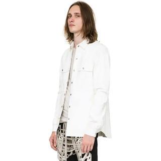 リックオウエンス(Rick Owens)の新品 定価356400円 リックオウエンス レザーシャツ 正規品 ホワイト 白(レザージャケット)