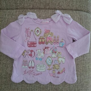 メゾピアノ(mezzo piano)のメゾピアノ クローゼットプリント肩リボンTシャツ【90cm】ピンク(Tシャツ/カットソー)
