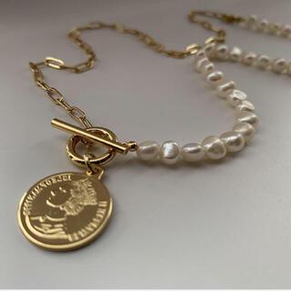 ザラ(ZARA)の161◇New 淡水パール マンテル コイン チェーン ネックレス ゴールド(ネックレス)
