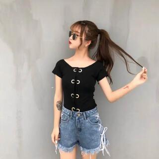 ディーホリック(dholic)の韓国ファッション リング編みトップス(カットソー(半袖/袖なし))