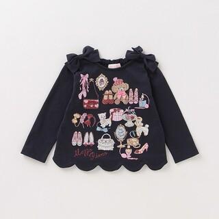 メゾピアノ(mezzo piano)のメゾピアノ⭐新品⭐クローゼットプリント肩リボンTシャツ 130(Tシャツ/カットソー)