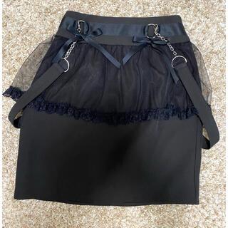 ロジータ(ROJITA)のサス付チュールタイトスカート ブラック(ミニスカート)
