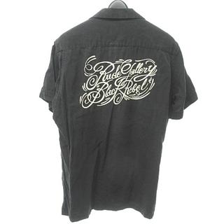 ルードギャラリー(RUDE GALLERY)のルードギャラリー ブラックレベル ボウリングシャツ 半袖 ロゴ 刺繍 黒 S(シャツ)