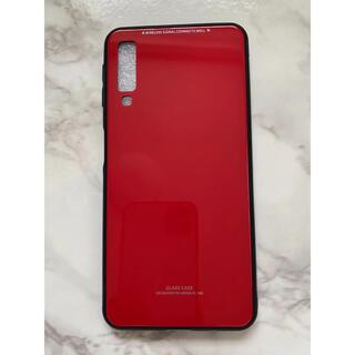 ギャラクシー(Galaxy)のシンプル&可愛い耐衝撃背面9HガラスケースGalaxyA7(2018) レッド赤(Androidケース)